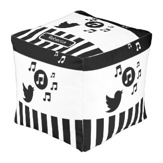 Singing songbird stylish music themed pouf