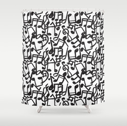 Cool Monochrome Piano Shower Curtain Stylish Music Notes Black On White