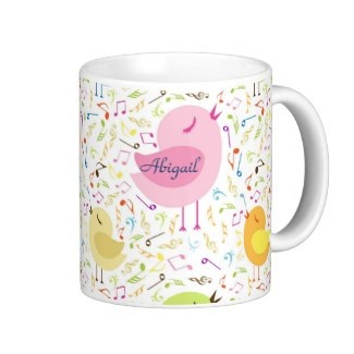 Cute personalized tweeting bird coffe mug for her