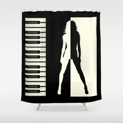 Music addiction shower curtain