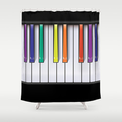 Rainbow piano shower curtain
