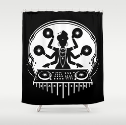 Cool disco shiva dj shower curtain