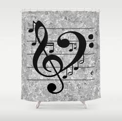 Modern black and gray shower curtain