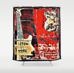 Contempoaray grunge guitar art shower curtain