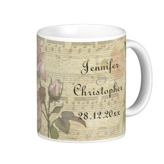 Personalized wedding vintage rose and piano score mug