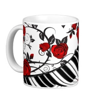 Stylish music and roses coffe cup for her
