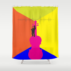 Vibrant music designer shower curtain