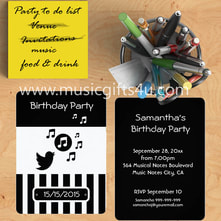 Stylish music themed party invitations